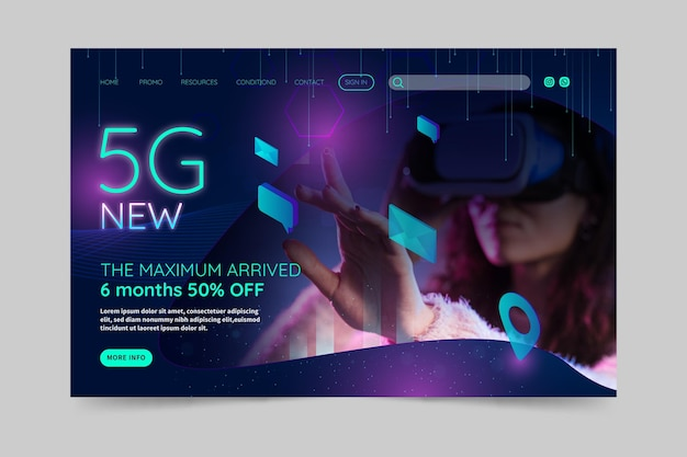 5g landing page concept Free Vector