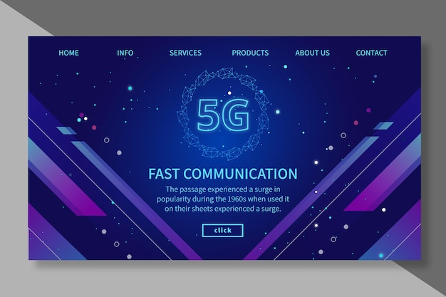 5g landing page template Free Vector