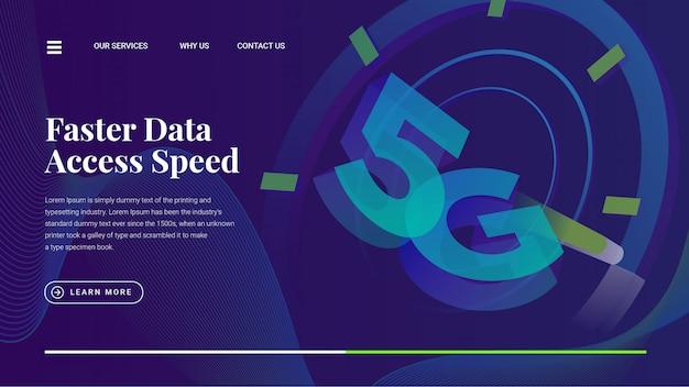 5g lte高速データアクセス速度のwebページ Premiumベクター