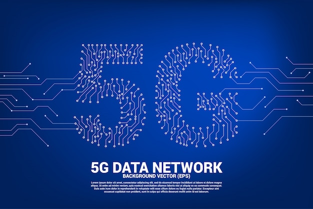 5g mobile networking from dot and line circuit board Premium Vector