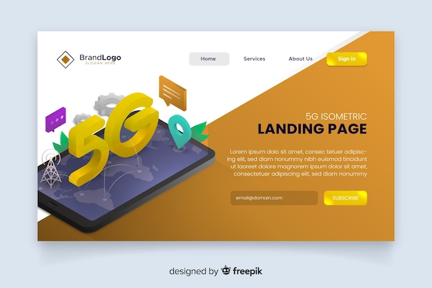 5g modern isometric landing page Free Vector