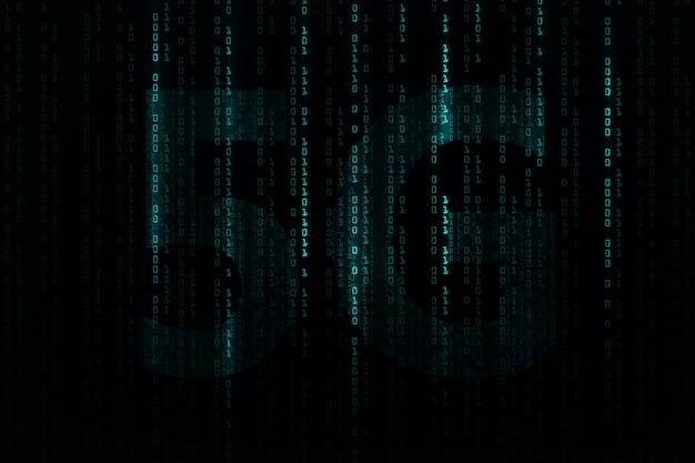 5gネットワークの背景。ビッグデータのバイナリコードフロー番号。 Premiumベクター