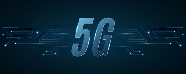 5gネットワークの背景。ハイテク回路基板。現代の技術設計。 Premiumベクター