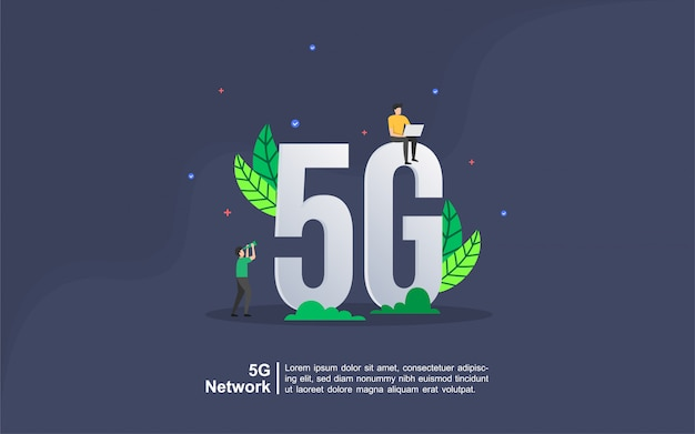 5g network concept with people character Premium Vector