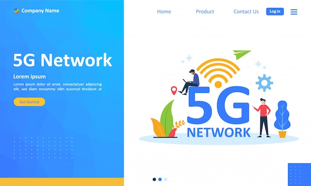 5g network internet mobile wireless for web landing page Premium Vector