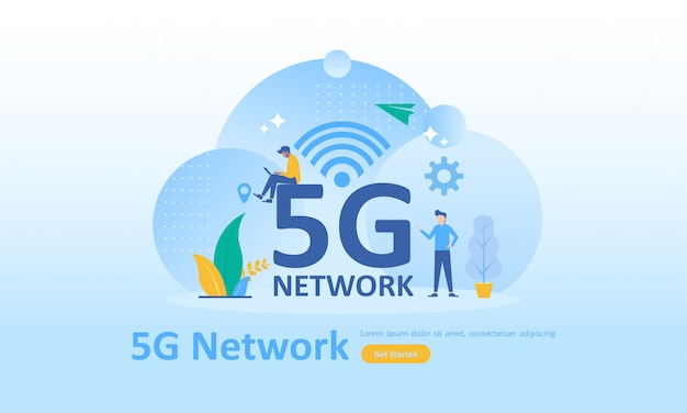 5g network internet mobile wireless Premium Vector