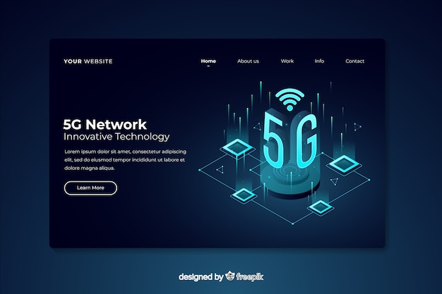5g network isometric landing page Free Vector