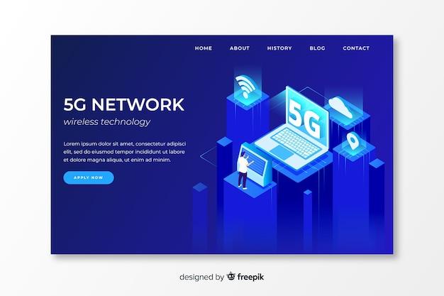 アイソメデザインの5gネットワークランディングページ 無料ベクター