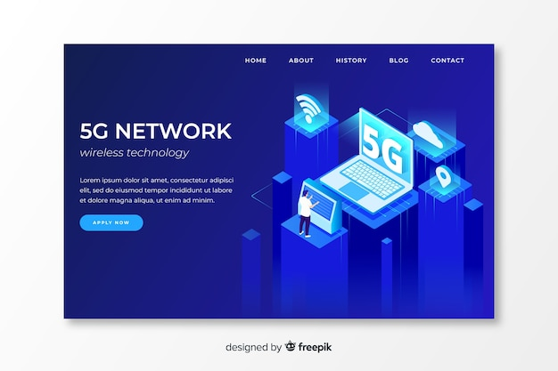 5g network  landing page in isometric design Free Vector