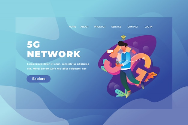 5g network landing page template Premium Vector