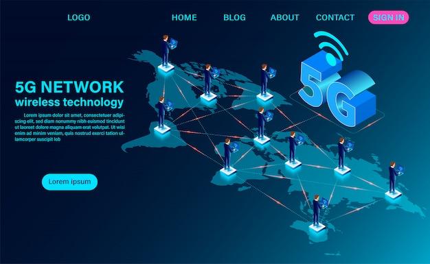 5g network landing page Premium Vector