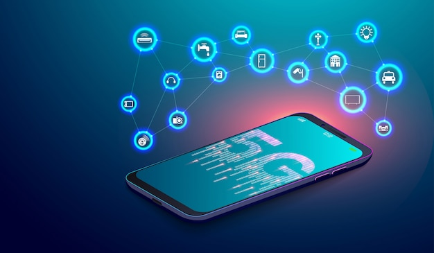 5g network on smartphone and iot internet of things Premium Vector