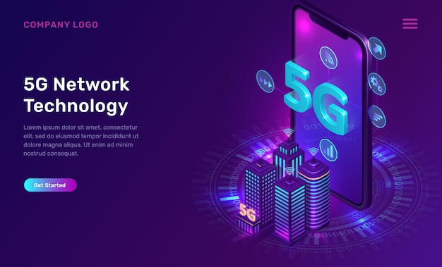 5gネットワークテクノロジー、等尺性の概念 無料ベクター