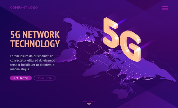 5g network technology isometric landing page. Free Vector