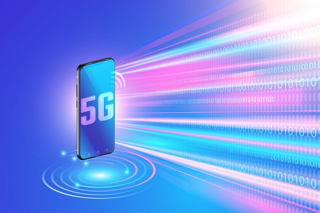 5g network technology on smartphone and high speed wireless network. next generation of internet Premium Vector