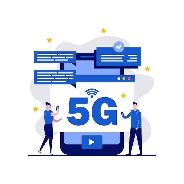 5gネットワークワイヤレスインターネット技術の概念 Premiumベクター