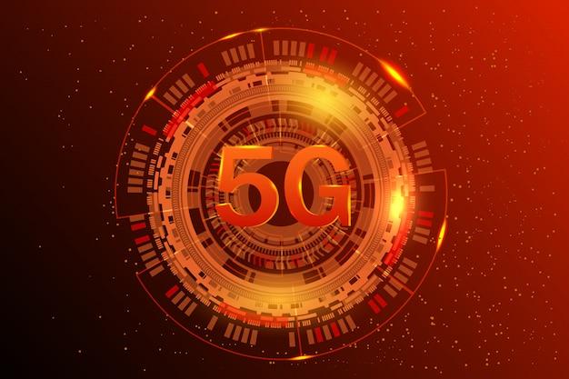5gネットワークワイヤレスシステムとインターネットの図。通信ネットワーク。ビジネスコンセプトバナー。輝く抽象的な背景 Premiumベクター