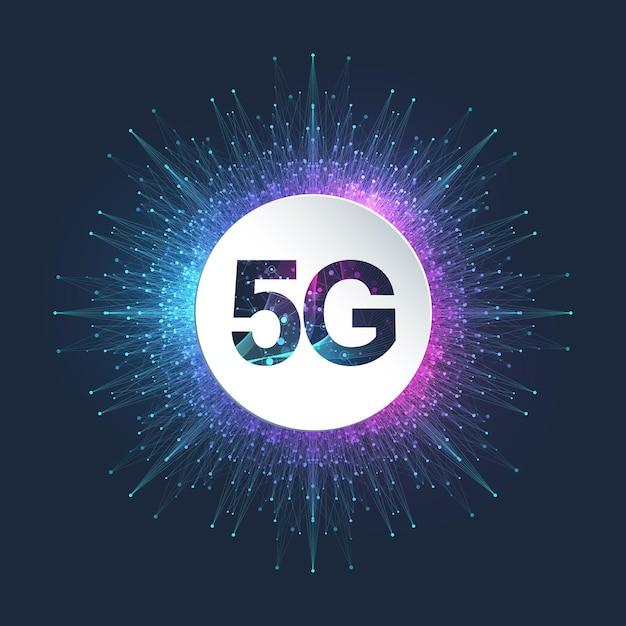 5g 네트워크 무선 시스템 및 인터넷 일러스트레이션 프리미엄 벡터
