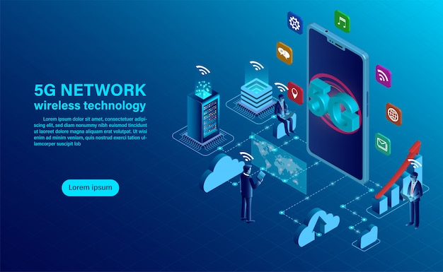 5g network wireless technology concept. smartphone with big letters 5g and people with mobile devices are sitting and standing on. Premium Vector