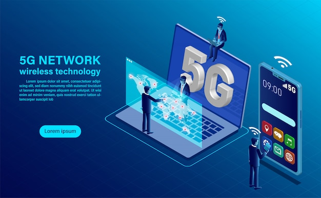 5g network wireless technology concept. smartphone with big letters 5g and people with mobile devices are sitting and standing on Premium Vector