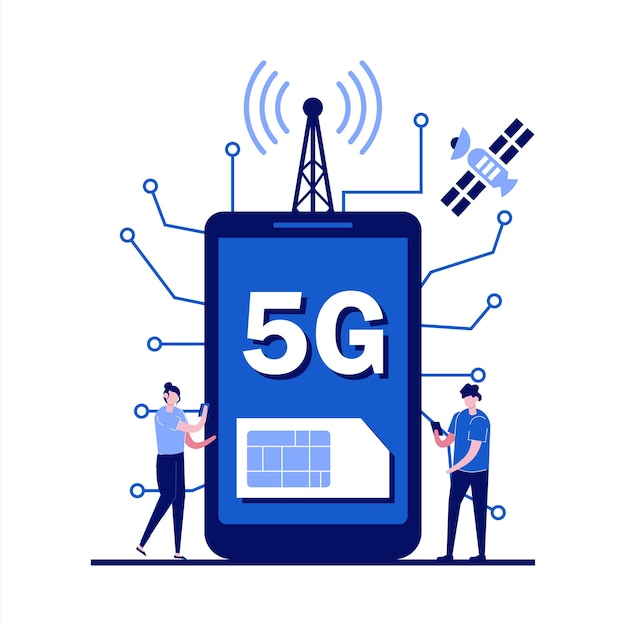 5g network wireless technology concept with character. people with gadgets using extreme high speed 5g internet connection. Premium Vector