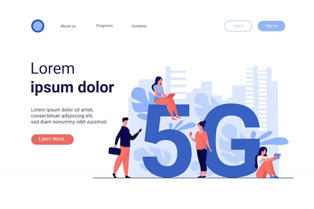 5g networks and telecom concept Free Vector