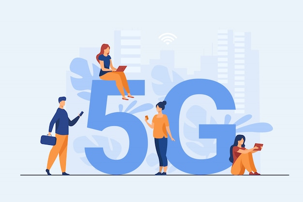 5g networks and telecom illustration Free Vector