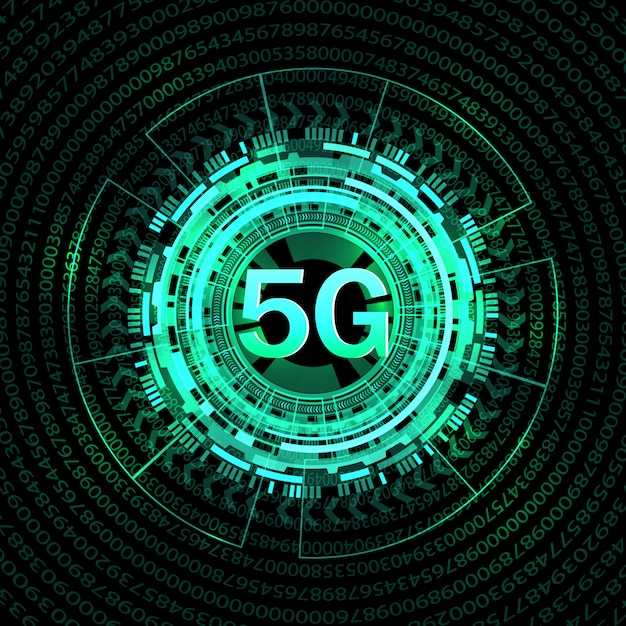 5 gの新しい無線インターネット接続の背景。 Premiumベクター