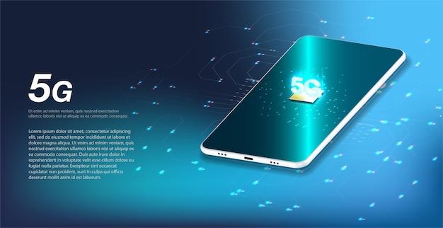 5gの新しいワイヤレスインターネットwifi接続。ビッグデータのバイナリコードフロー番号。 Premiumベクター