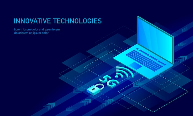 5g new wireless internet wifi connection. laptop mobile device isometric Premium Vector