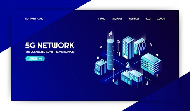 5g nework with the connected modern city landing page Premium Vector