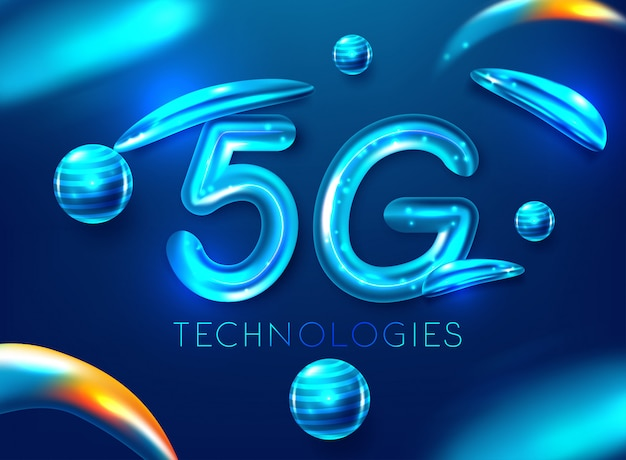 5g standard of modern signal transmission technology Premium Vector