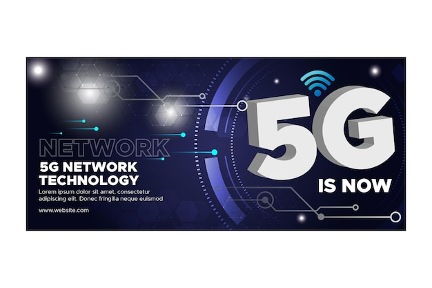 5g technology banner Free Vector