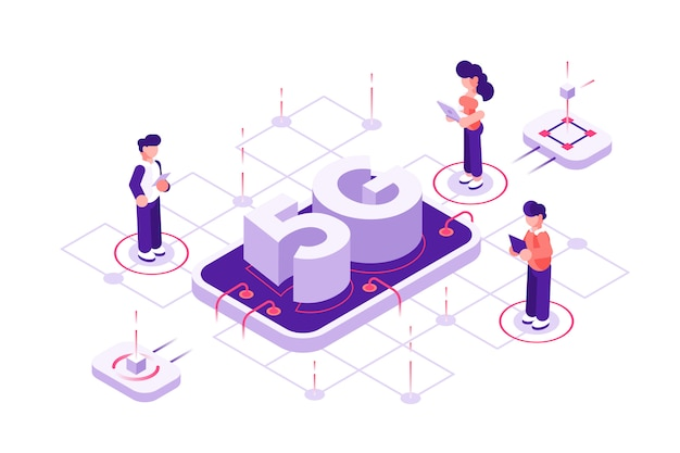 5g technology concept with characters. can use for web banner, infographics, hero images. flat isometric vector illustration isolated. people with mobile devices are standing near phone and big letter Premium Vector