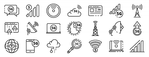 5g technology icons set, outline style Premium Vector