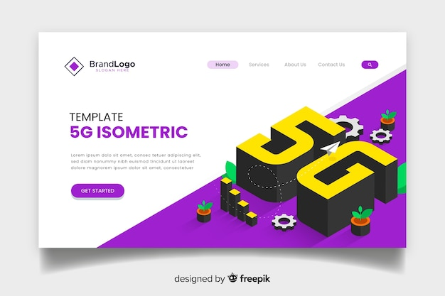 5g technology isometric landing page Free Vector