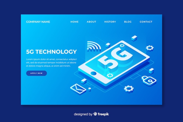 5g technology landing page in isometric design Free Vector