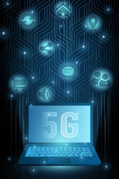 5gテクノロジーのラップトップとアイコン、光るドットの未来的なイラスト。ワイヤレス高速インターネット接続の概念。 Premiumベクター