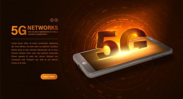 5gインターネットwifi接続。スマートフォンと5gシンボル Premiumベクター