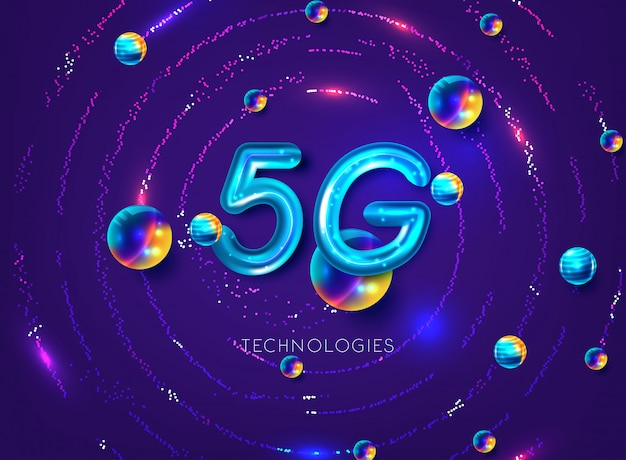 5g wireless internet connection network background Premium Vector