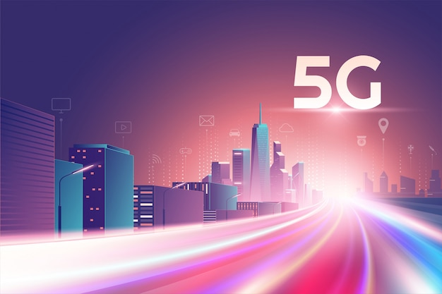 5g wireless network. 5th internet service, night urban city with things and services icons connection, internet of things, 5g network wireless with high speed connection and mobile connectivity Premium Vector