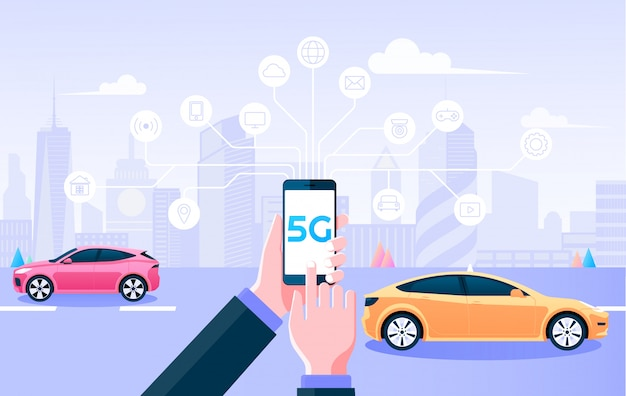 5g wireless network. holding mobile control things by 5g internet connection and smart city background.   illustration. Premium Vector