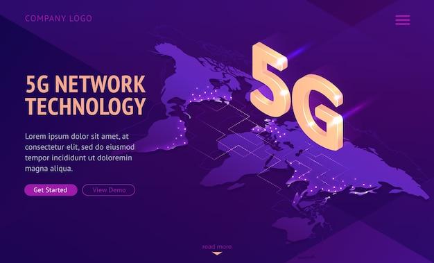 5g сетевые технологии изометрической целевой страницы. Бесплатные векторы