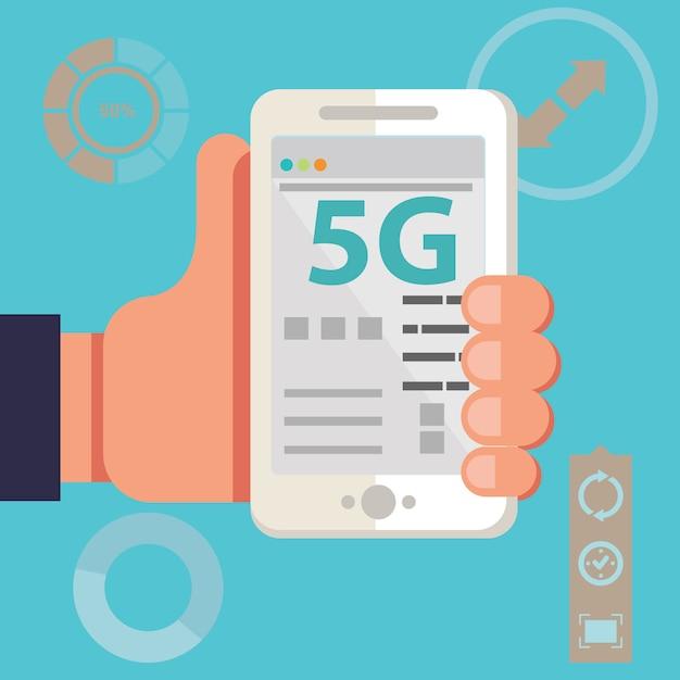 5gネットワーク無線システムとインターネット Premiumベクター