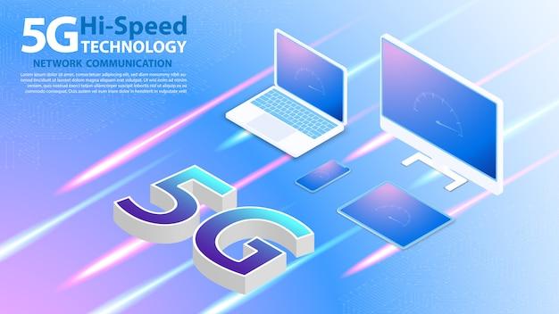 Высокоскоростная технология 5g сетевая связь беспроводной интернет Premium векторы