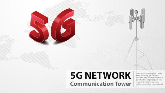 5gコミュニケーションタワーデータセンター付きワイヤレス高速インターネット Premiumベクター
