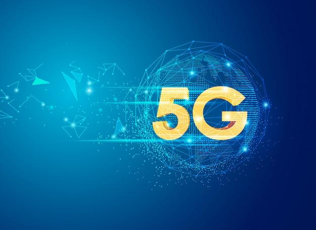 グローバルコミュニケーションテーマの5gサインイン Premiumベクター