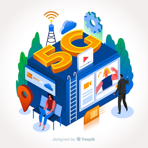 アイソメ設計の5gネットワーク接続 無料ベクター
