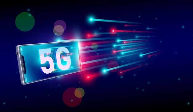 Интернет-соединение 5g с концепцией смартфона Premium векторы