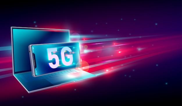 5g высокоскоростная сеть интернет связи Premium векторы